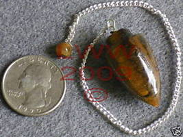 Tiger Eye Gemstone Pendulum NEW Scrying Wiccan Pagan - $6.85
