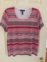 Karen Scott PXL Red Geometric Design Short Sleeve Top NWOT Cotton Blend - $10.89
