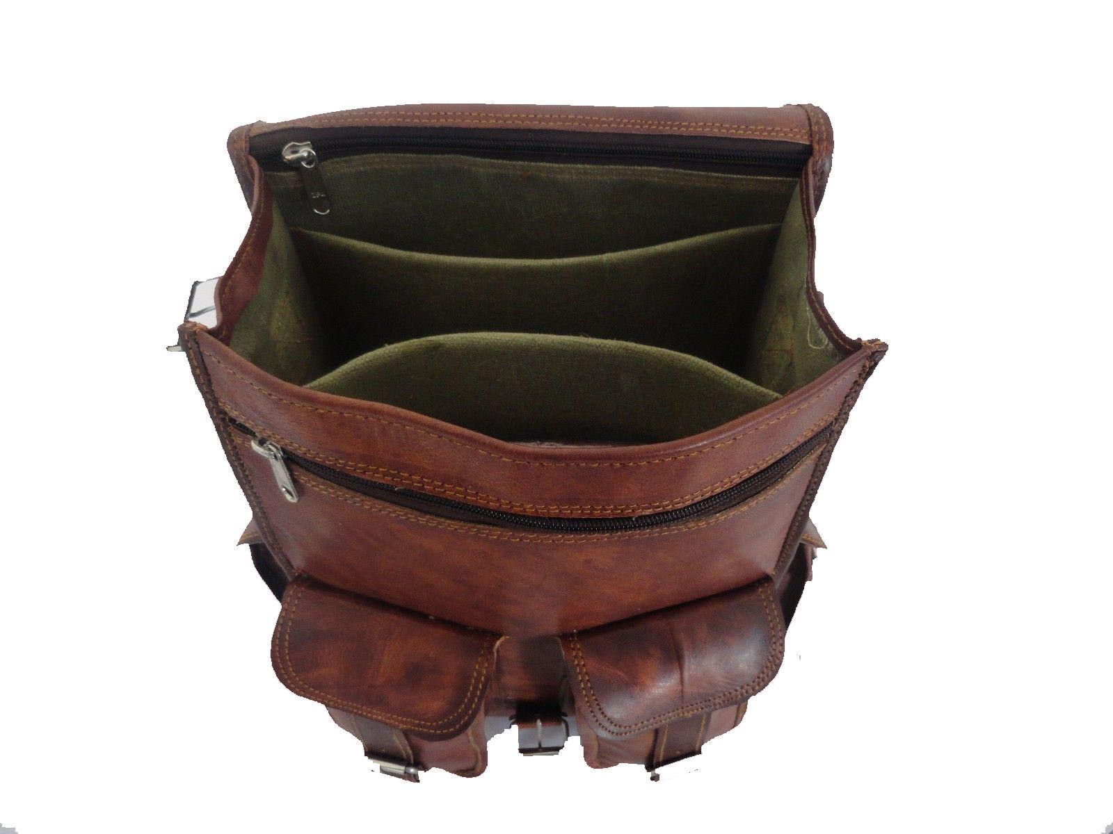 """15"""" Leather Backpack Bag Rucksack Messenger Laptop Satchel Genuine Vintage"""