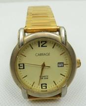 Vintage Ladies Men Gold Tone Carriage By Timex Quartz Watch Wristwatch  - $45.00