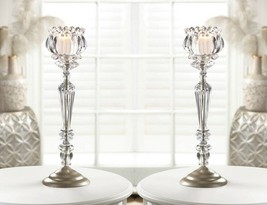 2 Clear Candle Stands w/ Crystal Flower Votive Candle Cups Centerpieces - $37.57
