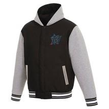 MLB Miami Marlins  JH Design Two Tone Reversible Fleece Hooded Jacket - $104.99
