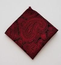 "Men's Red & Black Paisley Print 9 1/2"" Pocket Square Handkerchief Accessory - $11.87"
