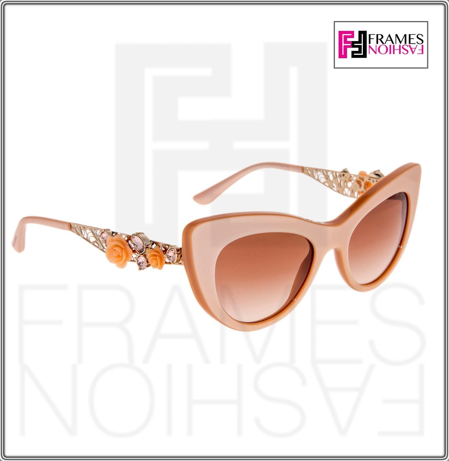 Dolce & Gabbana 4302 Metal FLOWER LACE Pearl Nude Pink Silver Cat Eye Sunglasses