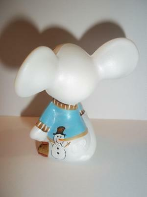 "Fenton Glass ""Let It Snow"" Snowman Christmas Mouse GSE Ltd Ed Kim Barley #15/20"