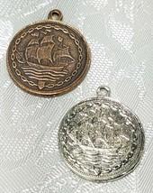 Balboa Coin FINE PEWTER PENDANT CHARM - 2x26x22mm image 2