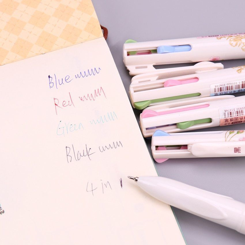 Primary image for XUES® 4 In 1 Colored Ballpoint Pen Floral Pens Kawaii Stationery Writing Pens