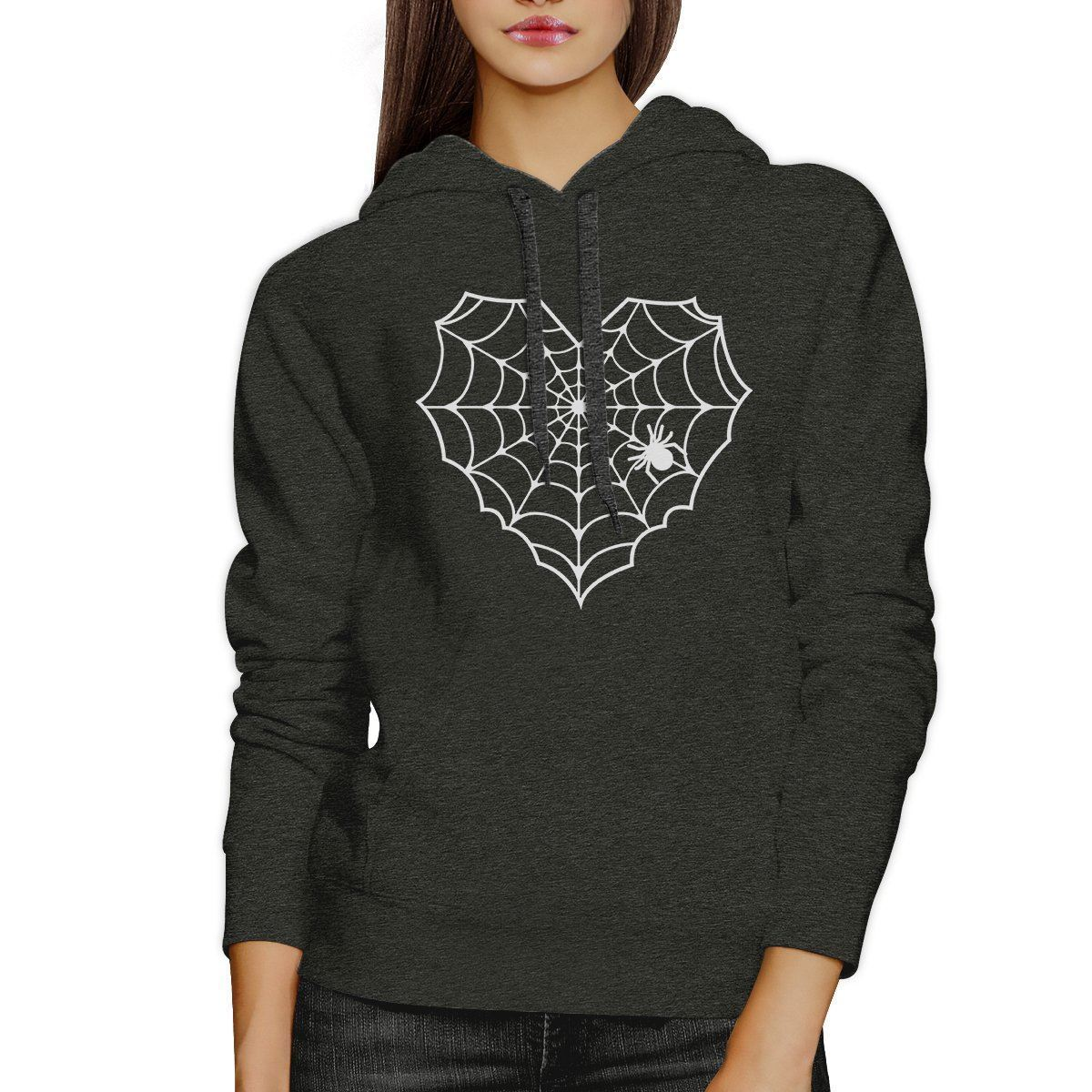 Heart Spider Web Dark Grey Hoodie