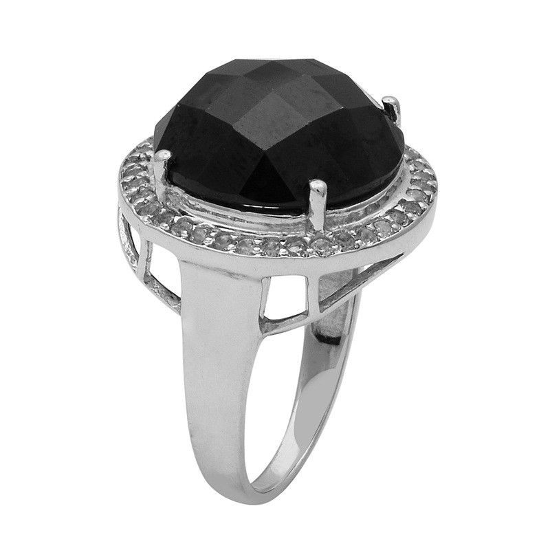 Black Spinel,White Topaz 925 Sterling Silver Ring Shine Jewelry Size-7 SHRI1447