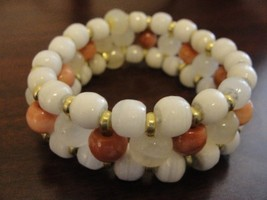 Bracelet Rose Quartz and white glass beads with gold dividers - New - $20.00