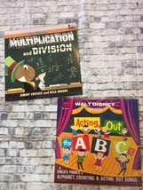 Lot Of 2 Vintage Disneyland Records 60s 1962-63 Multiplication Abcs Vinyl - $18.70