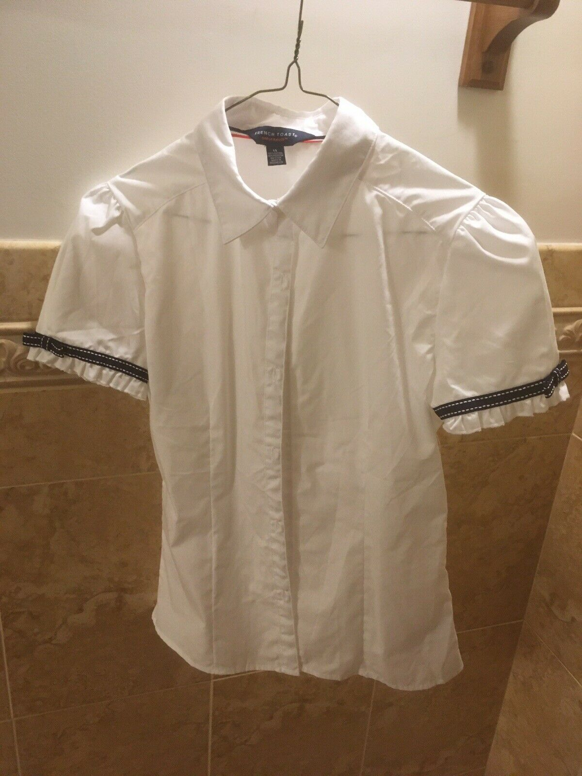 Primary image for NWOT French Toast Girls White Uniform Shirt Size 14 With Blue Trim On The Sleeve