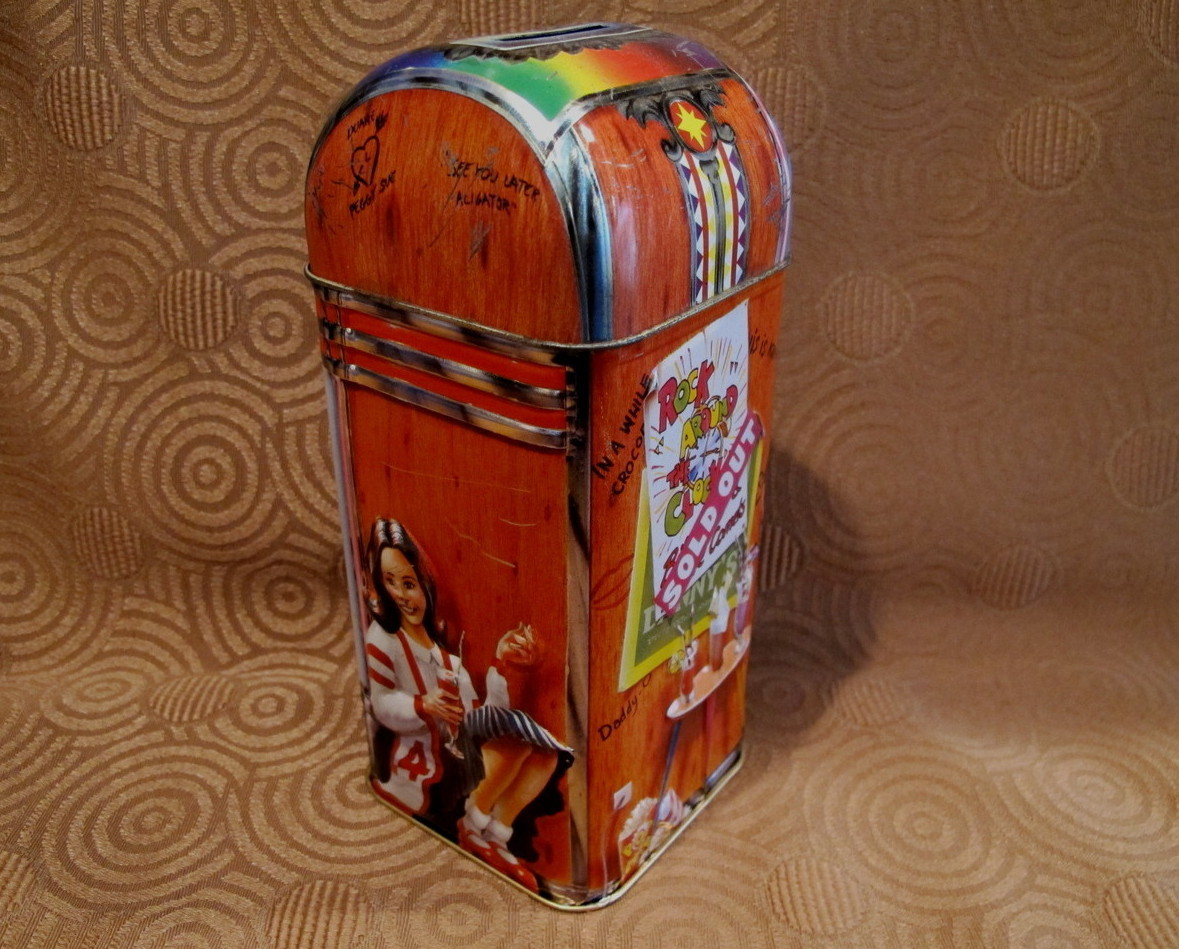 Churchills of England Money Box Tin Can Vintage Souvenir Piggy Bank JUKEBOX