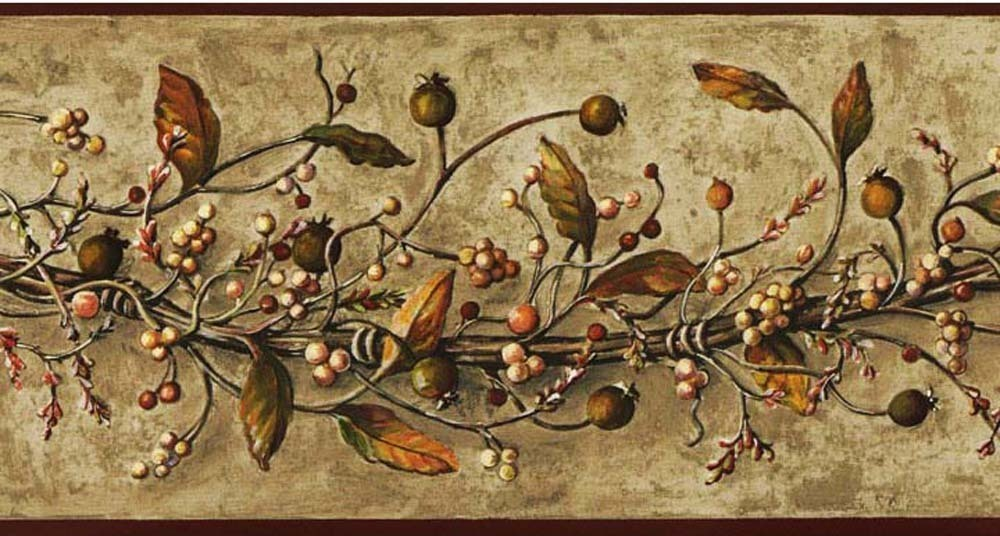 Caroline Vine With Berries Wallpaper Border From York Best Of Country HK4669BD