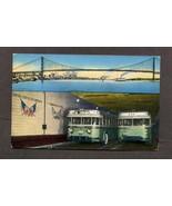 Vintage Postcard Detroit Windsor Tunnel Ambassador Bridge Bus - $3.99