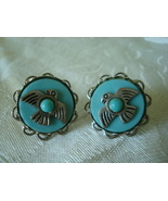 Vintage Earrings Aqua Plastic ~ Silver-tone Thunder Birds - $6.00