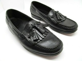 Cole Haan Mens Black Leather Kilted Tassel Loafers Deck Shoes Size US 10 D - $28.13