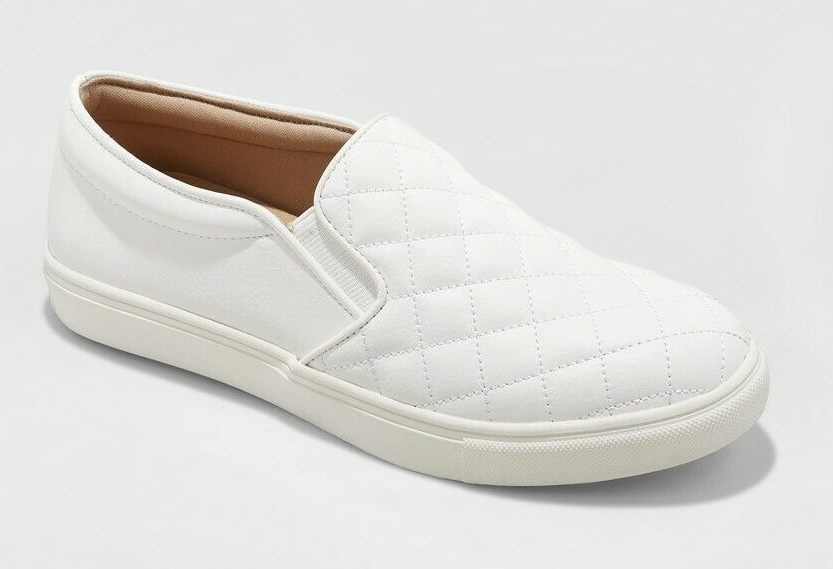 A New Day Women's White Reese Wide Width Quilted Slip-On Sneakers Shoes