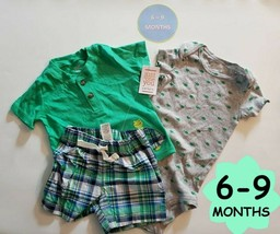 Boys New Baby 6-9M Carter's 3 Pc Lot Shirts and Shorts - $11.63