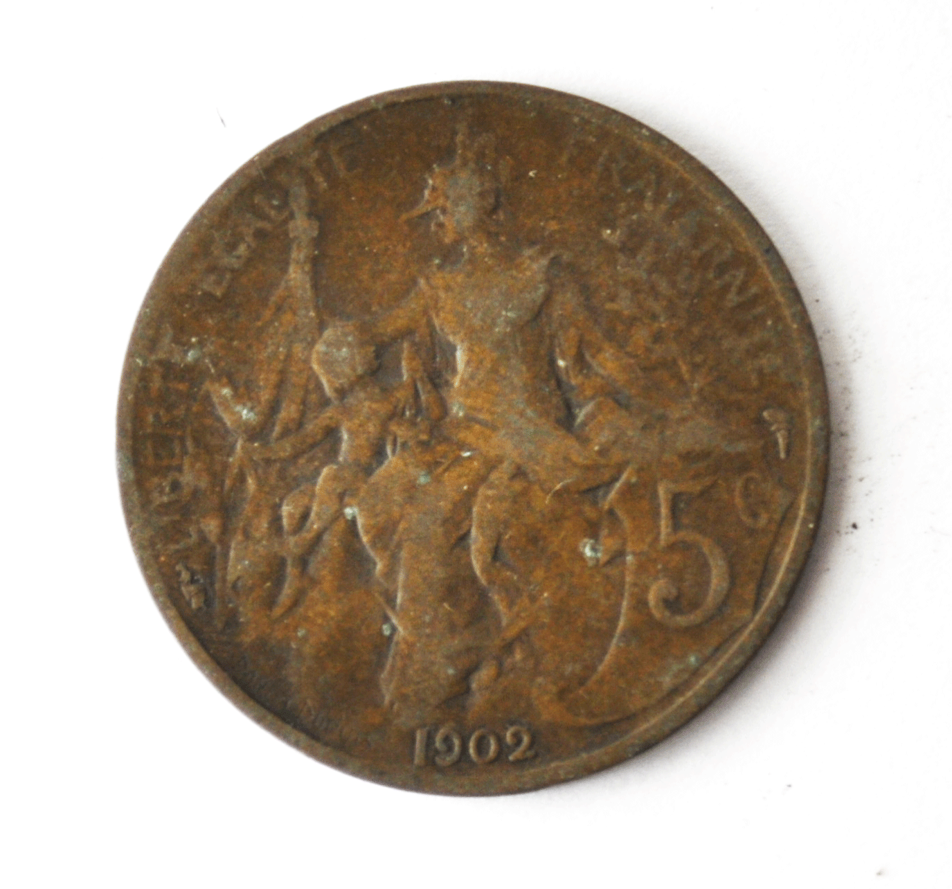 1902 France 5 Five Centimes KM# 842 Bronze Coin