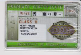 Mechwarrior Graduate Certificate University Of Proserpina P 011 - $0.49