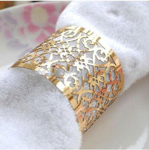 120pcs Gold Laser Cut Napkin Ring,Metallic Paper Table Decoration,Napkin... - $40.80
