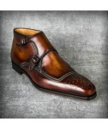 Men's Handmade Leather Boots, Genuine Leather Patina Double Monk Dress B... - $168.29+