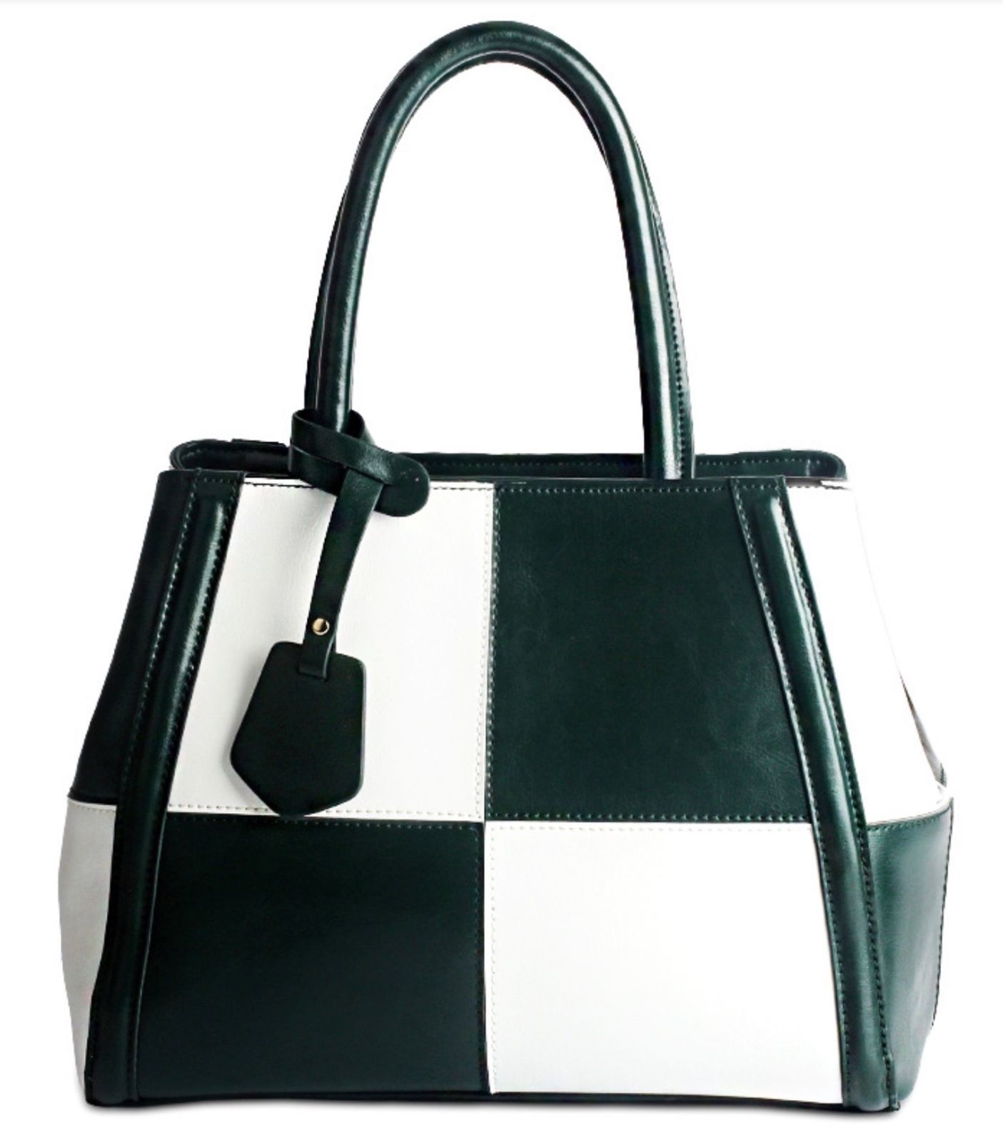New Italian Leather Color Block Satchel Tote Handbag
