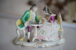 Dresden Porcelain Lace Figurine Statue Couple Playing Chess - $166.50