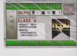 Mechwarrior Graduate Certificate Hero Training Institute Firepower P 021 - $0.49