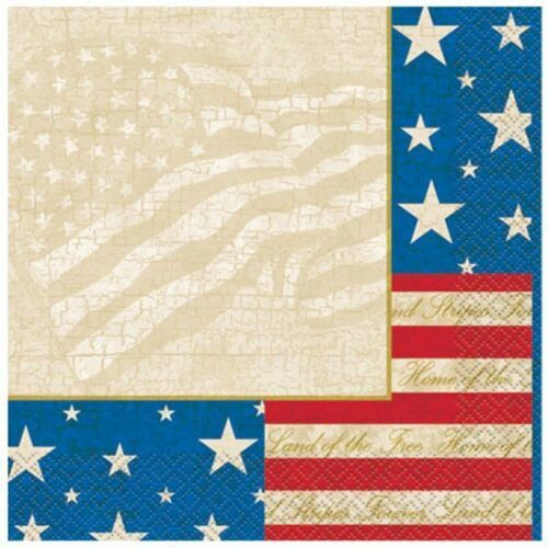 USA Party Beverage Napkins 16 Ct Patriotic July 4th Memorial Veterans Day