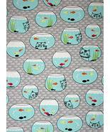 Animal Fish Bowl Goldfish Kitty Cat Gray Cotton Fabric Cat Fish by The Yard - $24.33