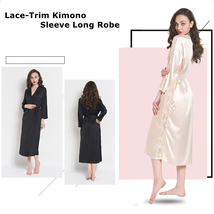 Women Lace Trim Kimono Pajamas Sleeve Long Wrap Robe Cover Sleep Wear Dress - $26.99