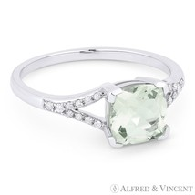1.41ct Cushion Cut Green Amethyst Diamond 14k White Gold Engagement Prom... - £305.50 GBP