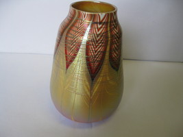 "Zephyr Studio Art Glass Gold Aurene Threaded-Feathers 8 1/2"" Vase 1999 USA - $479.99"