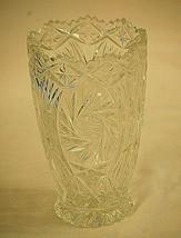 Hand Cut 24% Lead Crystal Glass Vase Pinwheel Pattern Saw Tooth Edge Germany - $59.39