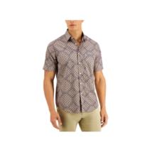 Tasso Elba Men's Collared Short Sleeve Diamante Shirt (Multicolor, 2XL) - $15.05