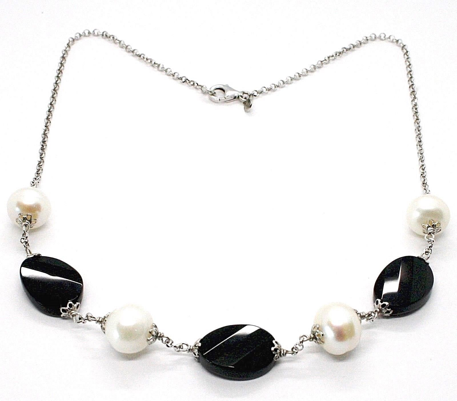 Necklace Silver 925, Onyx Black Oval Faceted, Pearls, 44 cm, Chain Rolo '
