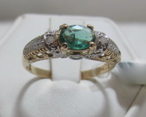 Columbian Emerald with Diamond Accent 10kt Yellow and Gold two tone ring size 6 Bonanza