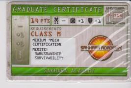 Mechwarrior Graduate Certificate Sakhara Academy Firepower P 018 - $0.49