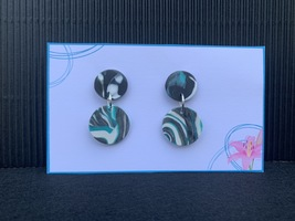 Polymer Clay Metallic Turquoise, Black & White Marbled Stud Dangle Earring - $7.50