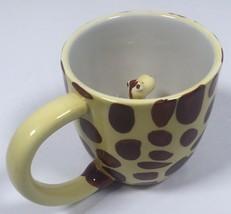 Pier 1 Imports Giraffe Surprise Ceramic Coffee Mug Cup Beige Brown Spots... - $14.61