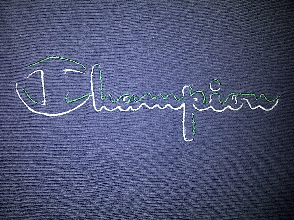 Champion Dark Navy Blue Forest Green White Crewneck Sweater Sweatshirt Large L