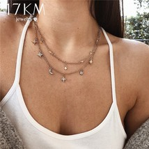 17KM® Boho Star Moon Multi Layer Pendant Necklace For Women Vintage Flower - $3.85+