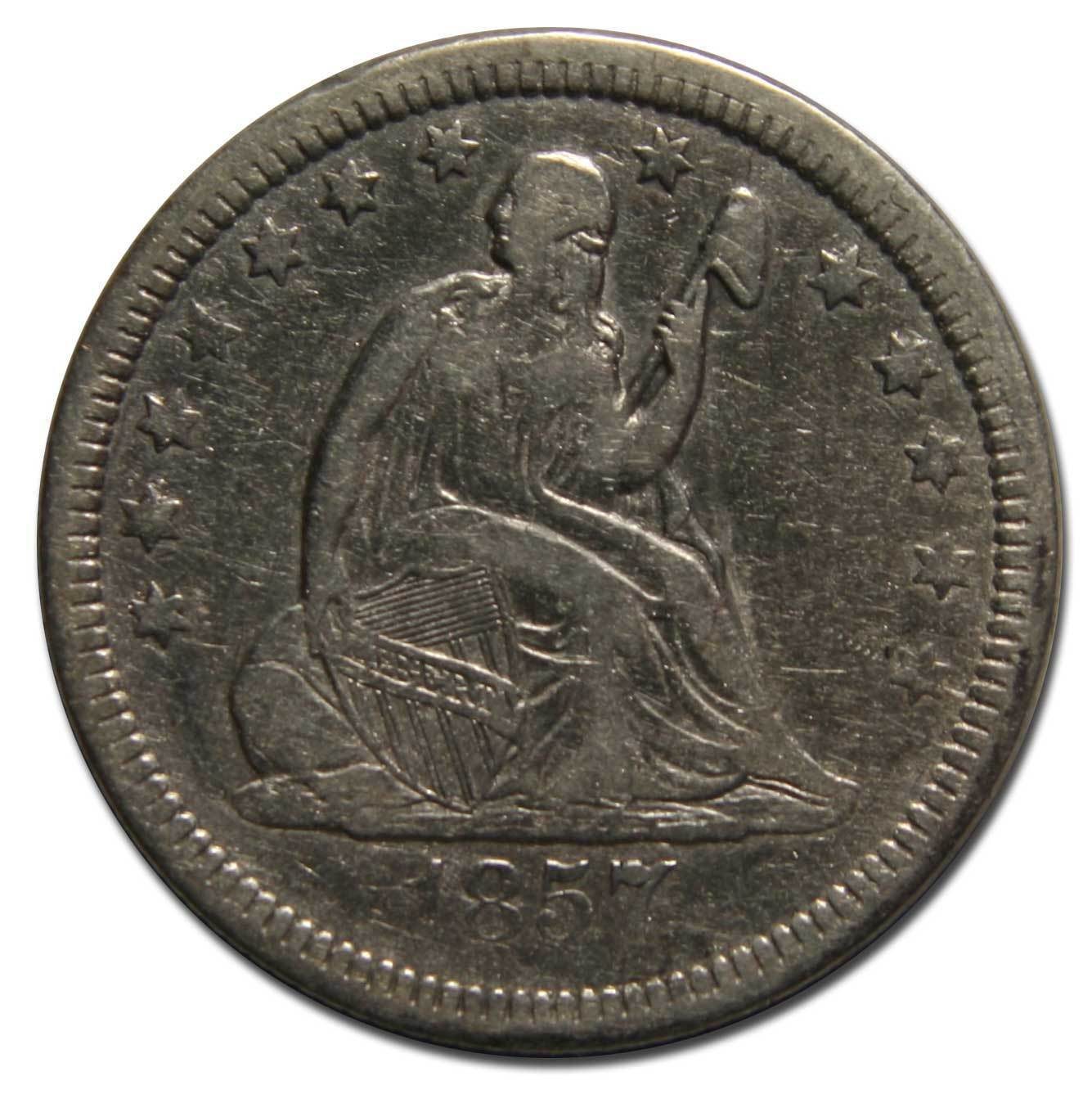 1857 Seated Liberty Quarter Coin Lot# A 1844