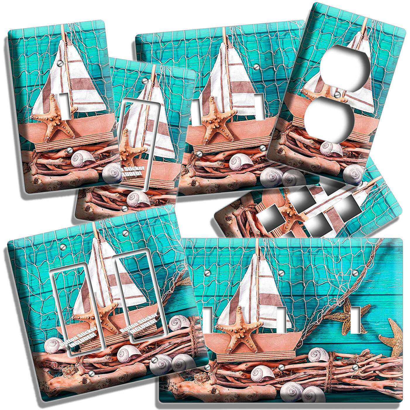 Primary image for NAUTICAL BOAT SEA SHELLS FISH NET LIGHT SWITCH WALL PLATES OUTLET BATHROOM DECOR