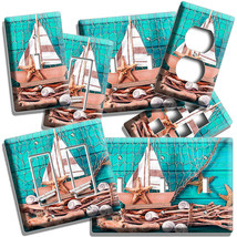 NAUTICAL BOAT SEA SHELLS FISH NET LIGHT SWITCH WALL PLATES OUTLET BATHRO... - $9.99+