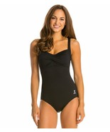 NEW - TYR Women's 1 Piece Twisted Bra Solid Controlfit Top - Black - Siz... - $44.55