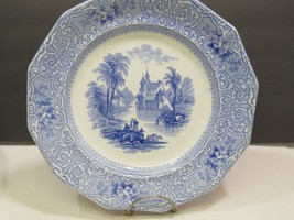 """James Edwards Blue Staffordshire Chateau Dinner Plate 10"""" - $37.62"""