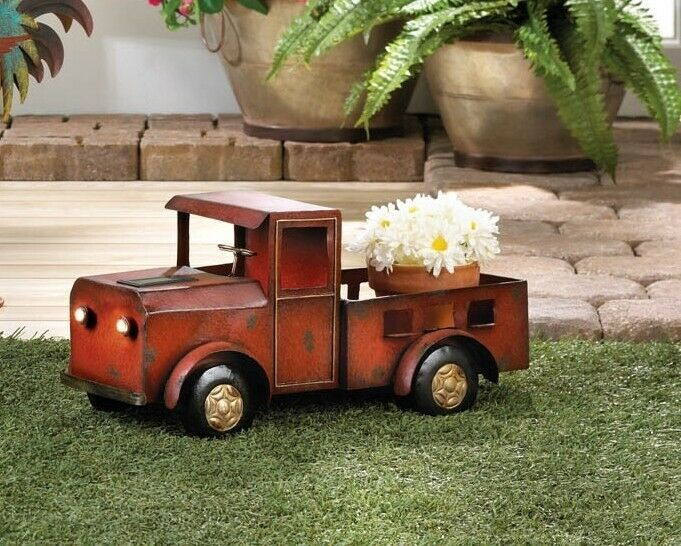 Rustic Iron Red Truck Planter w/ Solar Headlights Indoors, Patio or Porch